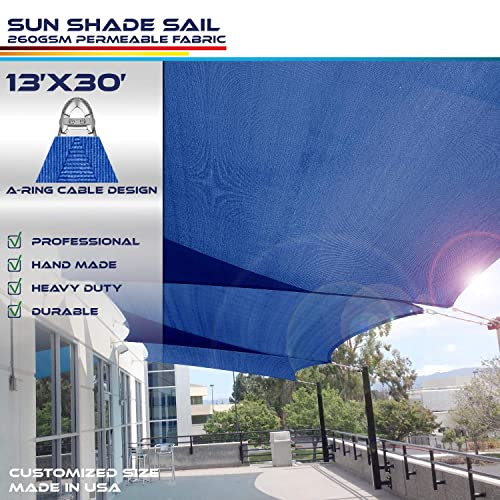 Windscreen4less A-Ring Reinforcement Large Sun Shade Sail 2 x 4 Rectangle Super Heavy Duty Strengthen Durable 260GSM -Galvanized Cable Enhanced – Blue 9 Year Warranty
