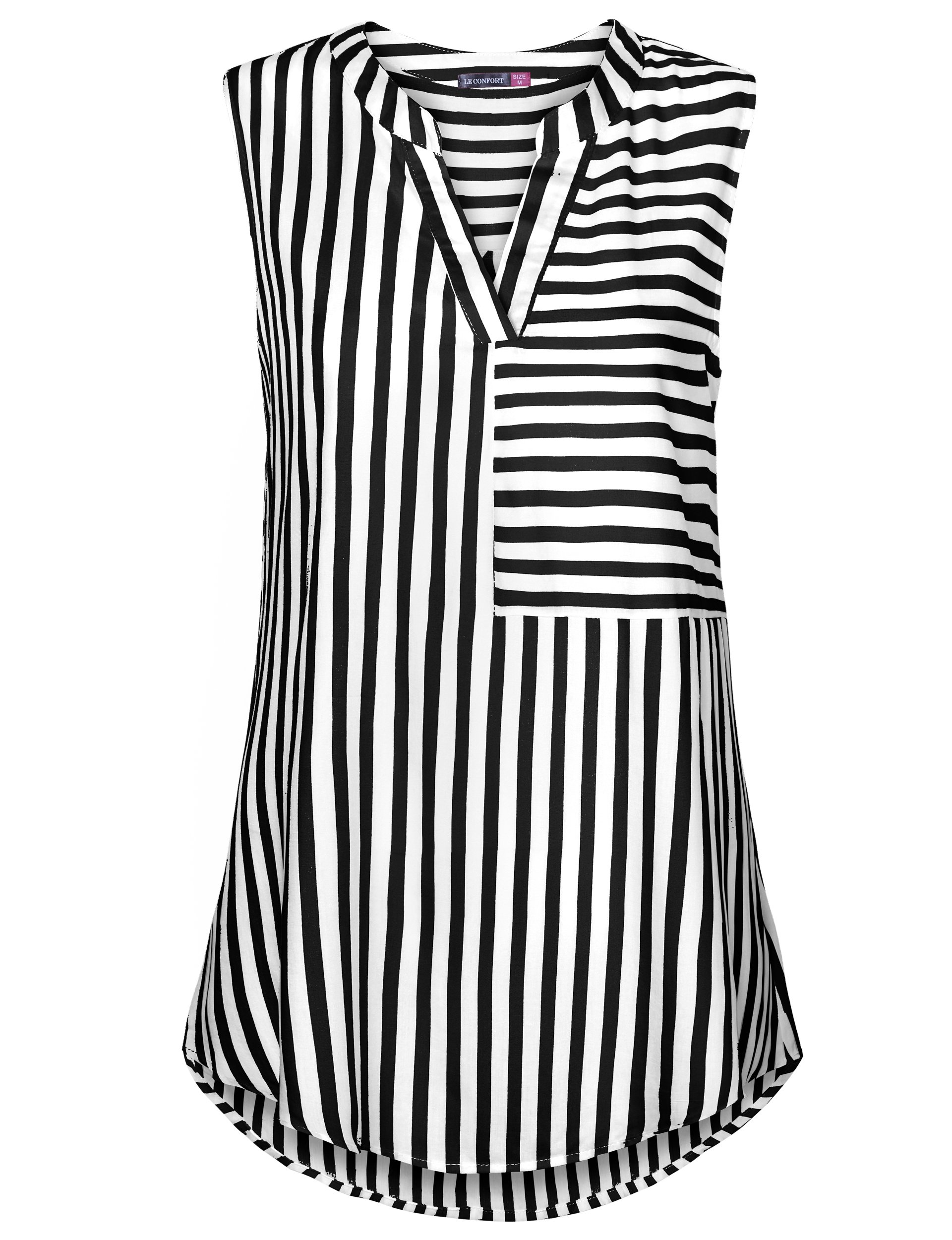 Le Vonfort Casual Blouse for Women, Women's Casual Sleeveless Striped Split V Neck Tunic Blouses Shirts for Leggings Black X-Large by Le Confort