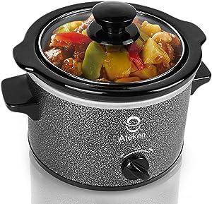 Ateken Slow Cooker 1.5 Quart with Removable Ceramic Pot Dishwasher Safe Stainless Steel Black