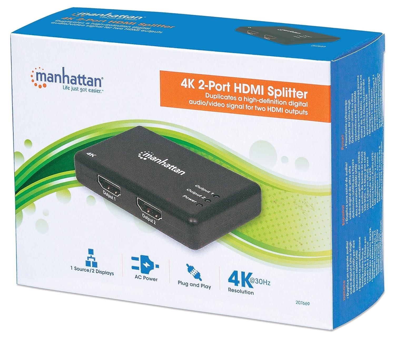 Amazon.com: Manhattan Products 4K 2-Port HDMI Splitter, 4K@30Hz, AC ...