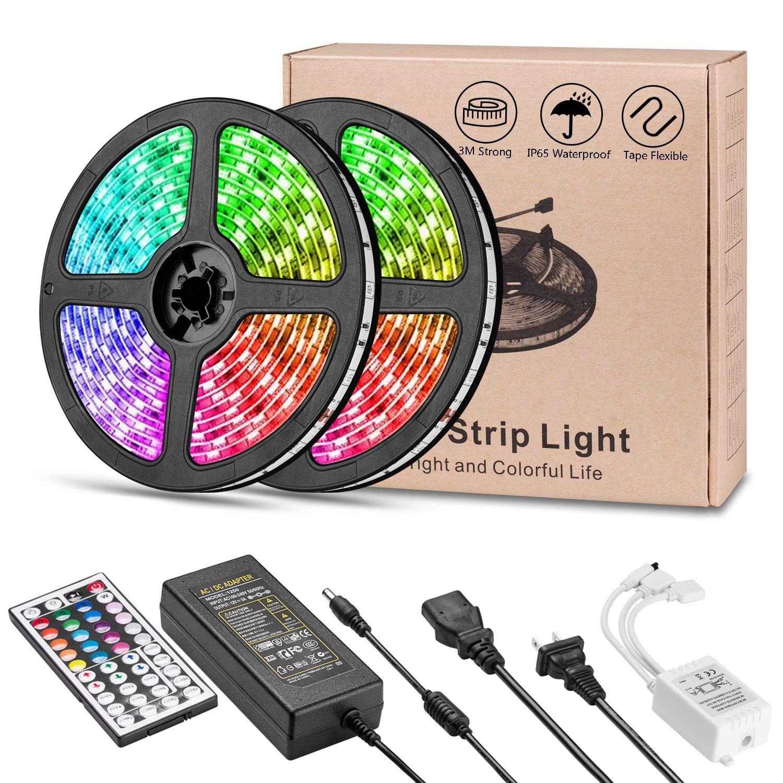 LED Strip Lights, Usieka 300 LEDs 33ft SMD5050 LED Light Strip IP65 Waterproof RGB LED Strip Color Changing LED Tape Light Kit with 44 Keys IR Remote Controller and 12V 5A Power Supply