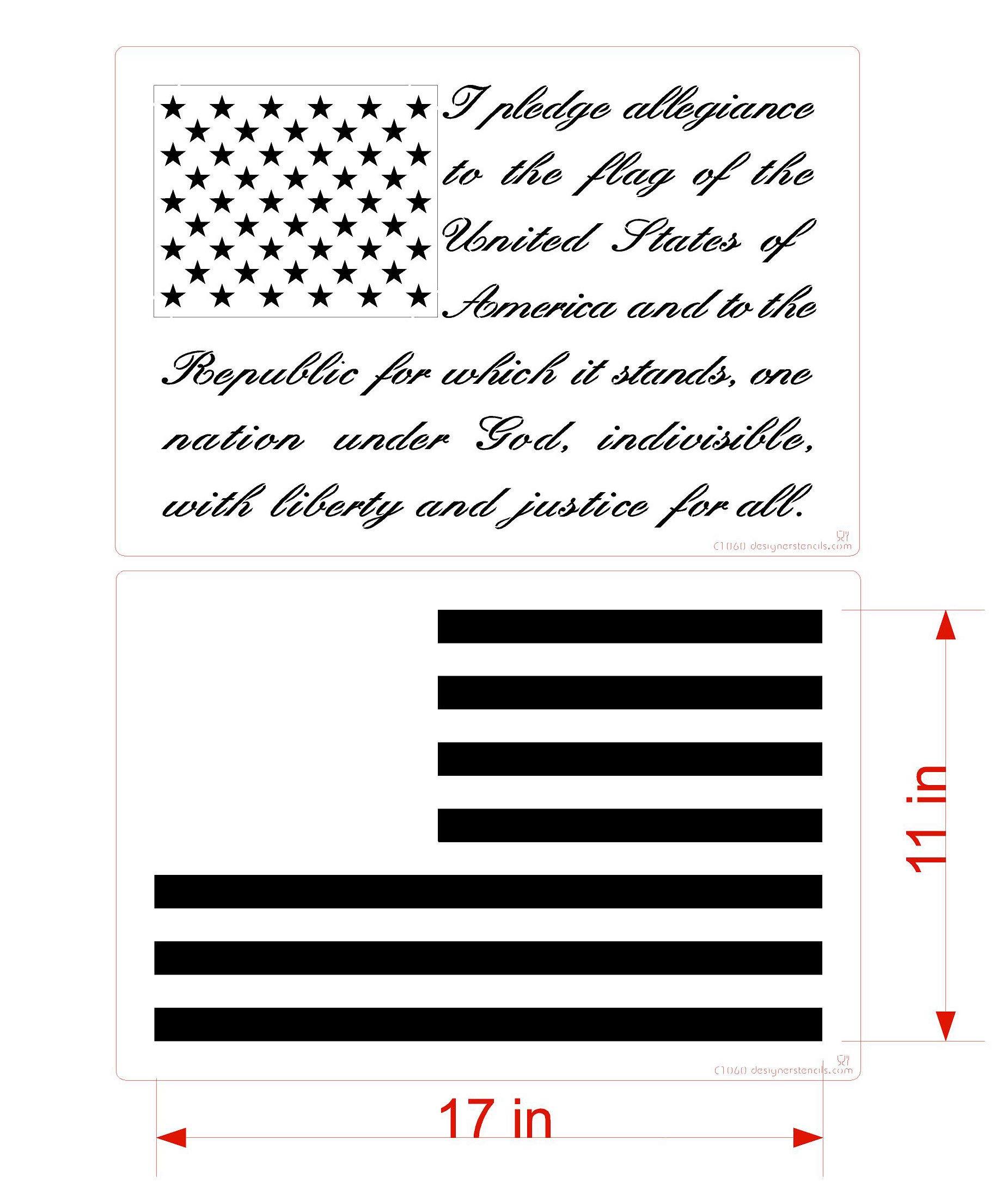 Pledge of Allegiance Flag Cake/Craft Stencil by Designer Stencils (Image #4)