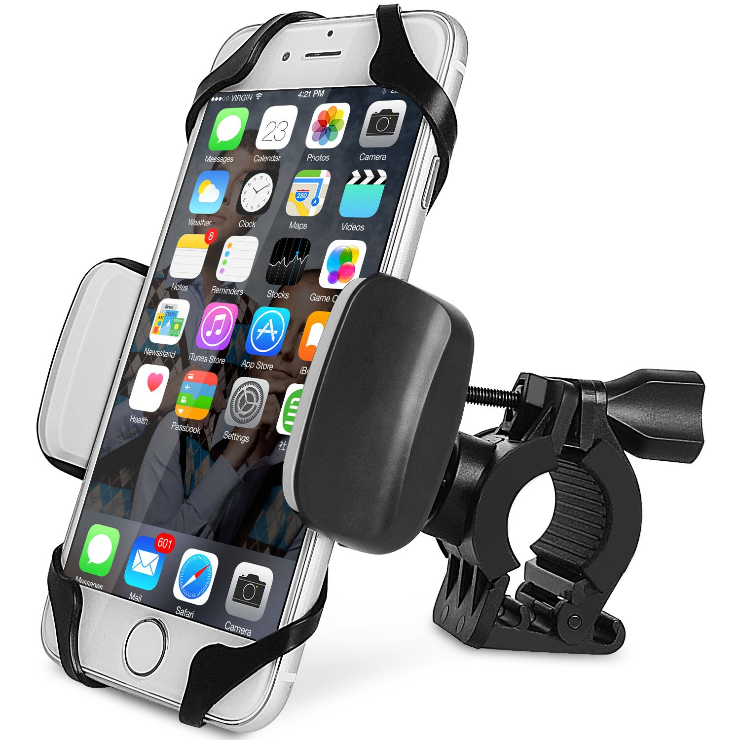 Bike Mount, PTUNA Bike Mount Phone Holder Motorcycle Phone Mount Bike Handlebar Adjustable Universal for iPhone X/8/8s/7/7Plus/5s/6s/6 Plus, Galaxy S9/S8/S8 Plus/S7 Edge (Black) 4327088951