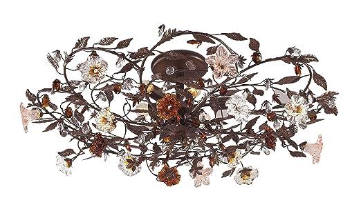 semi flush mount ceiling light parts brushed nickel lights for hallways elk hand blown florets deep rust