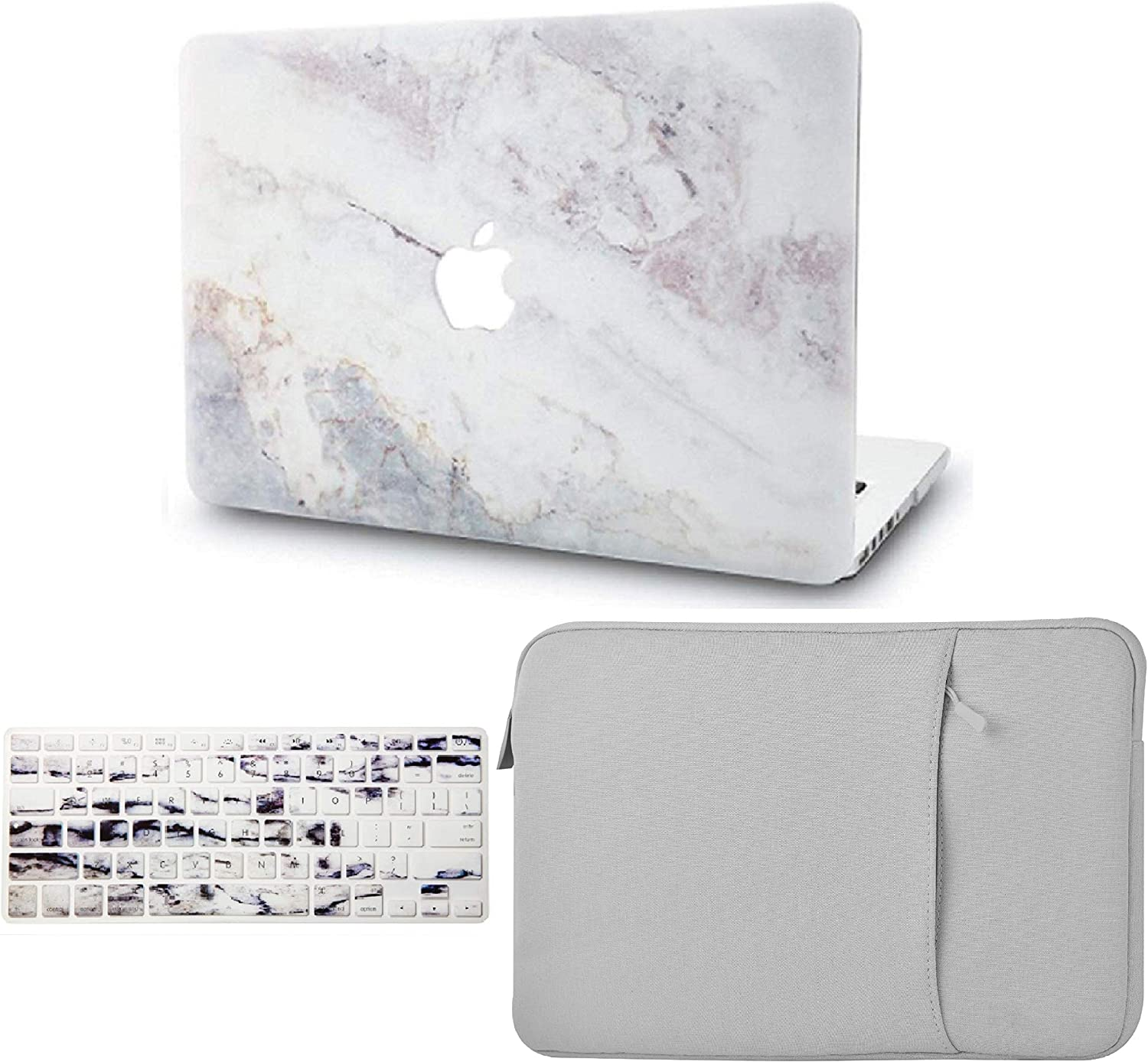 "KECC Laptop Case for MacBook Air 13"" Retina (2020/2019/2018, Touch ID) w/Keyboard Cover + Sleeve Plastic Hard Shell Case A1932 3 in 1 Bundle (White Marble 2)"