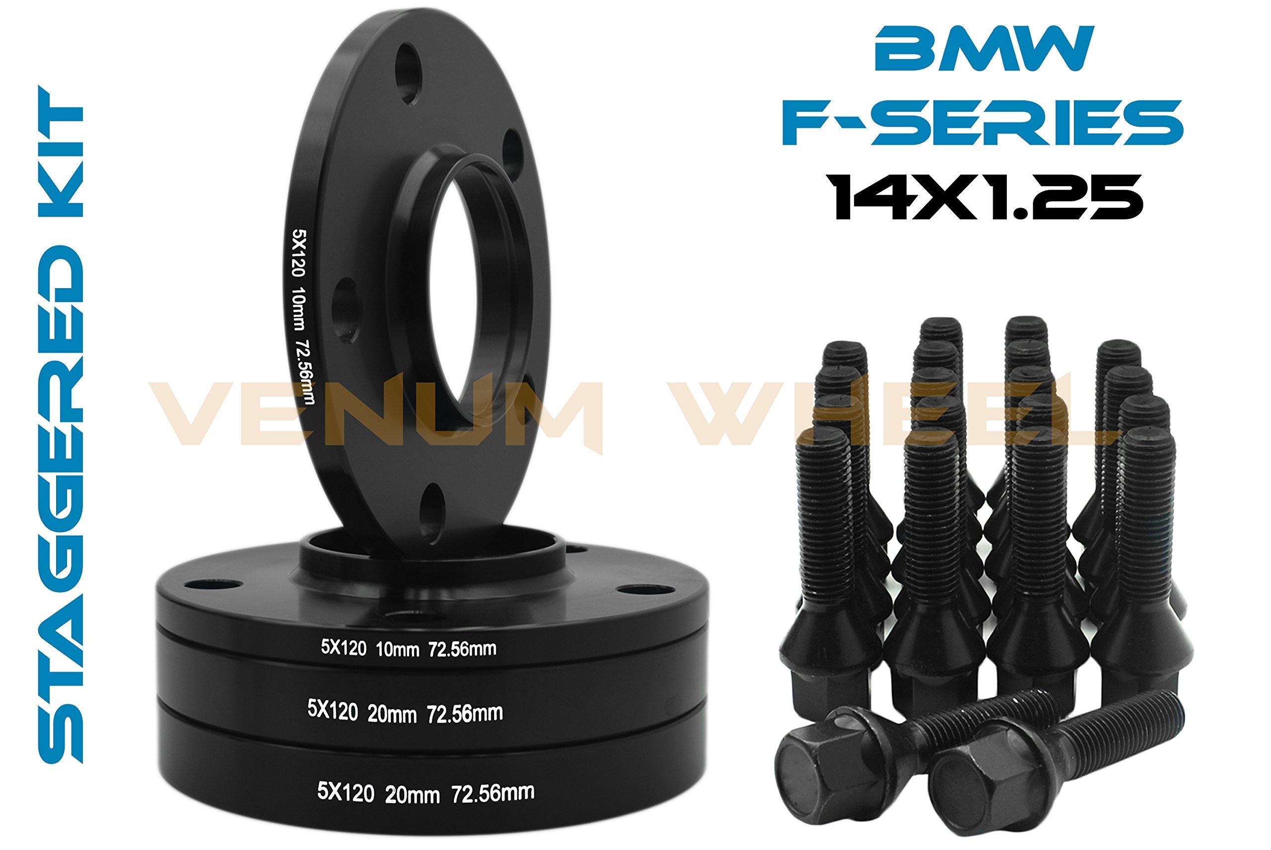 Bolt-On Set Of Black 10mm & 20mm Staggered Bmw Wheel Spacers Hub Centric 5x120 - 72.56 H.B - F30 F31 320 328 335 F80 M3 F32 F82 M4 435 F22 F23 228 235 F10 528 535 M5 F11