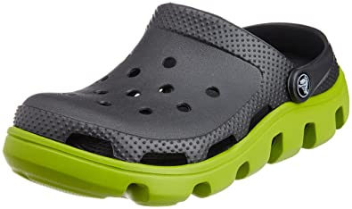 8e845129c6 crocs Unisex Adult's Duet Sport Clog Graphite/Volt Green Outdoor Sandals -  M11 (11991