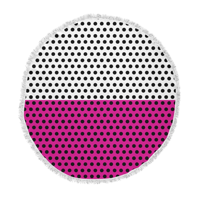 Kess InHouse Trebam Tufna V 3 Pink Black Digital Round Beach Towel Blanket