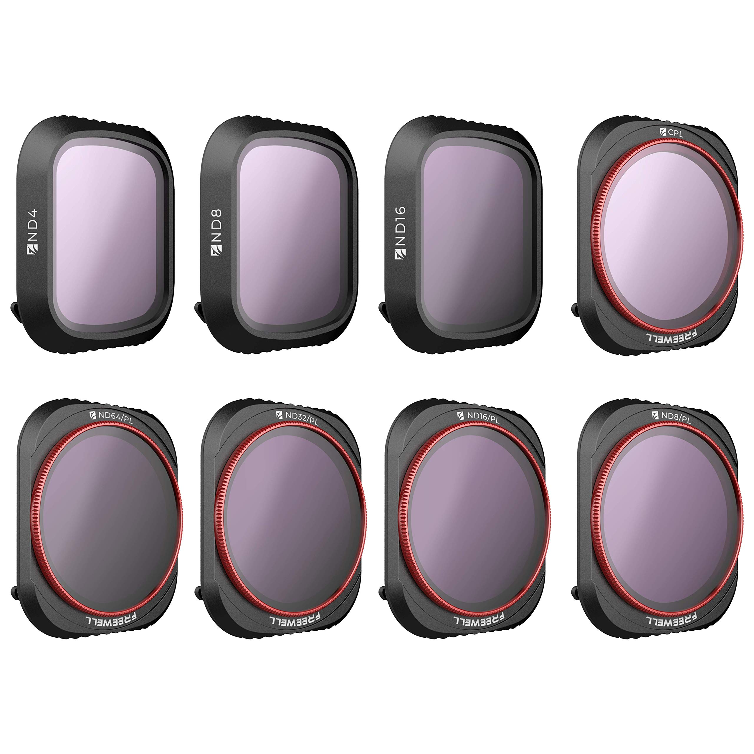 Freewell All Day - 4K Series - 8Pack ND4, ND8, ND16, CPL, ND8/PL, ND16/PL, ND32/PL, ND64/PL Camera Lens Filters Compatible with DJI Mavic 2 Pro Drone