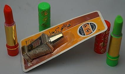 pack belleza arabe : 2 pintalabios magicos (1 verde + 1 rojo) + un kajal natural negro para los ojos con aplicador ...
