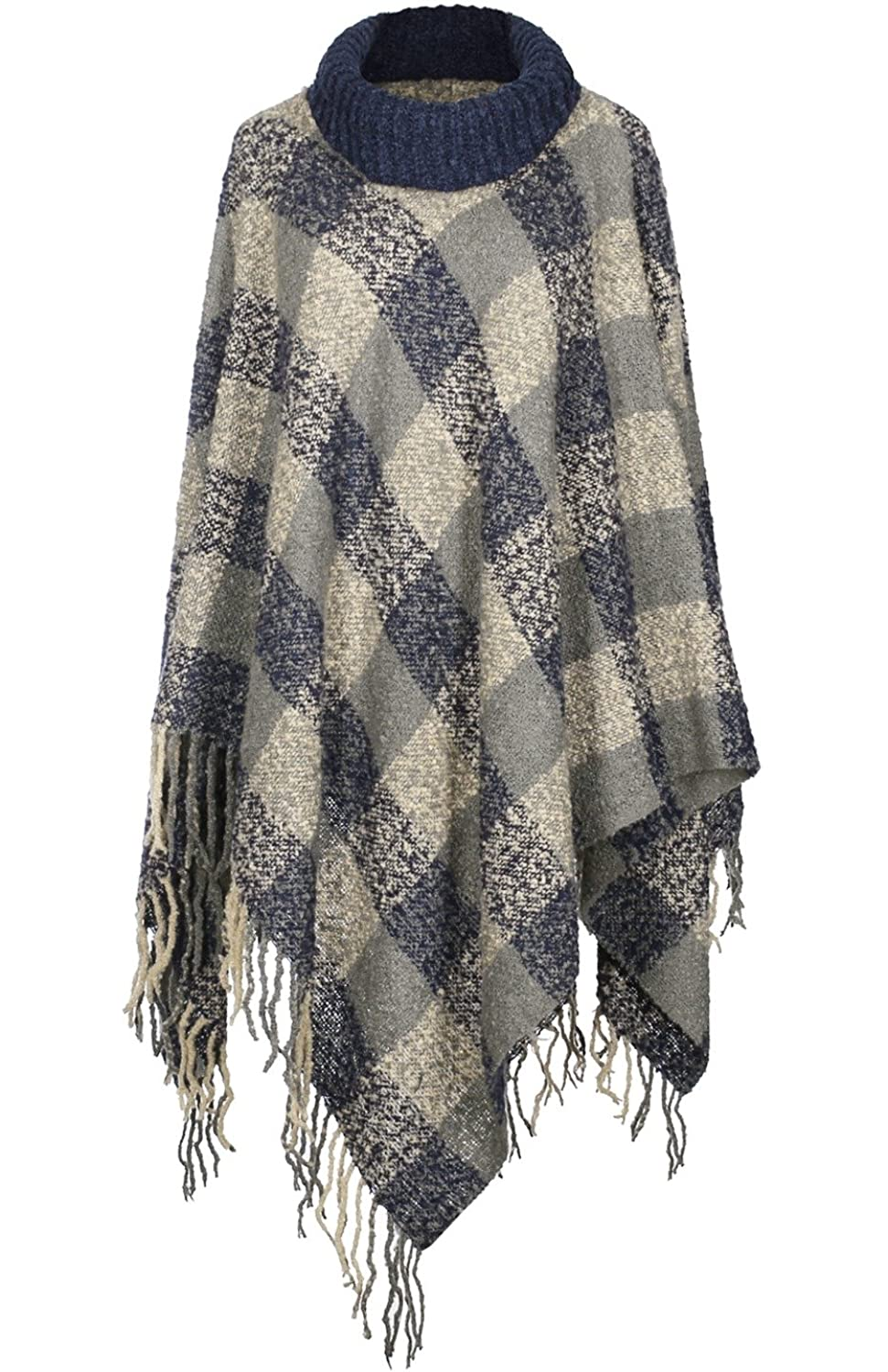 2LUV Women's Pullover Turtleneck Poncho W/ Fringe Trim