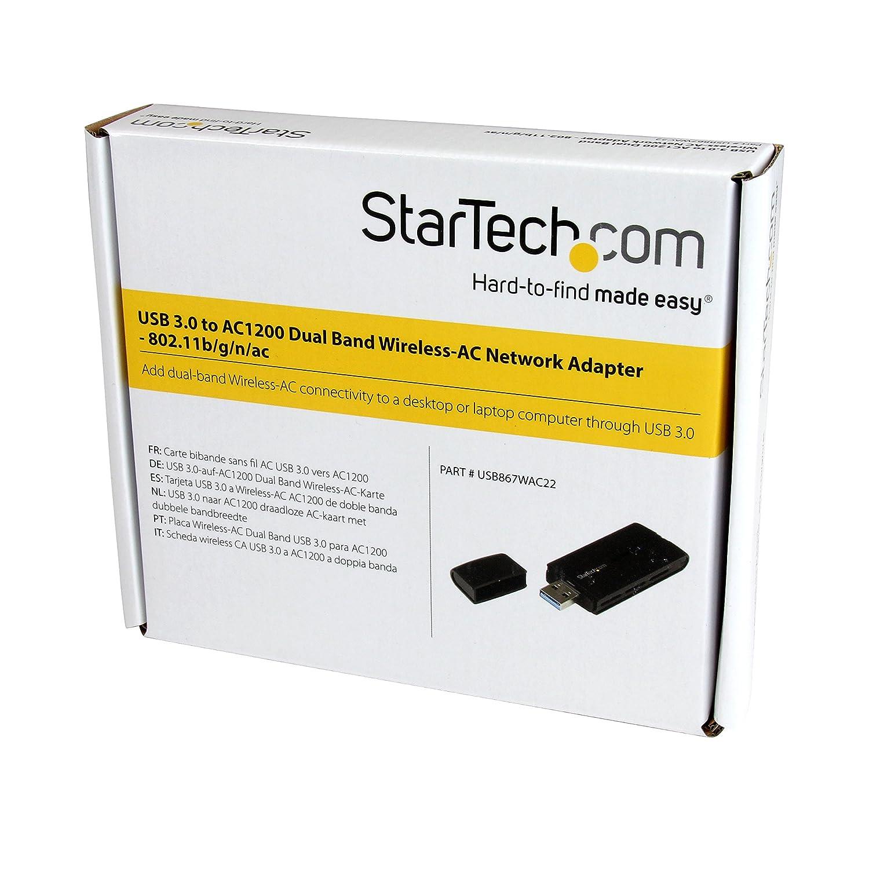 StarTech.com (USB867WAC22) USB 3.0 AC1200 Dual Band Wireless-AC Network Adapter - 802.11ac WiFi Adapter