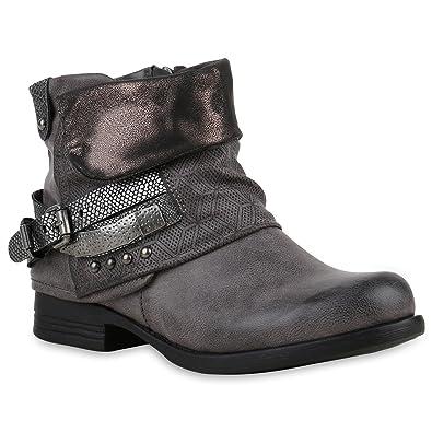 Damen Biker Boots Nieten Schnallen Stiefeletten Rockig Gr. 36-42 Schuhe  121872 Grau Kroko 62b4e1980a