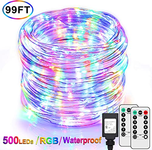 99Ft LED Rope Lights Outdoor, Multicolor Fairy String Lights Plug in with 500 LEDs, Waterproof, Super Durable, Dimmable and 8 Modes with Remote, for Bedroom Patio Wedding Christmas Decor RGB