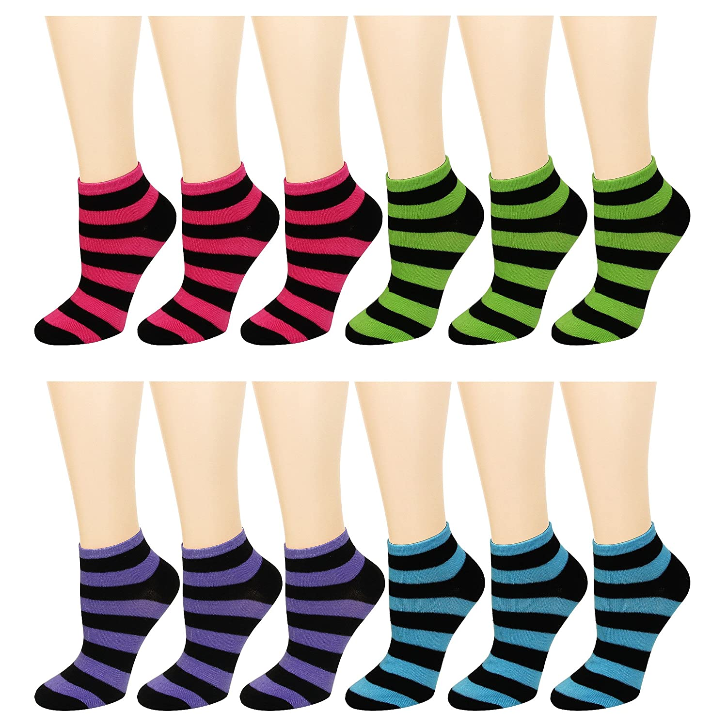 12-Pack Women's Ankle Socks Assorted Colors Size 9-11 68.601-100
