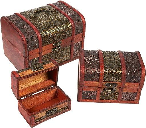 Caja de madera para el cofre del tesoro, juego de 3 troncos decorativos de madera para joyería pirata juguete de recuerdo, flor tallada: Amazon.es: Hogar