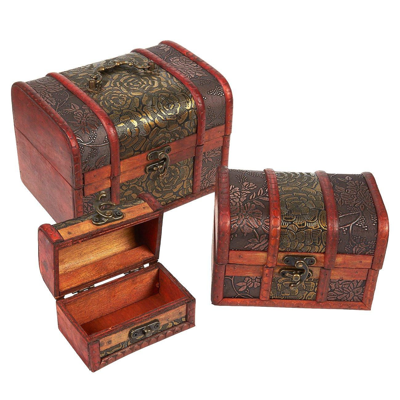 3 Piece Wooden Treasure Box - Keepsake Box - Treasure Chest with Flower Motif for Jewelry