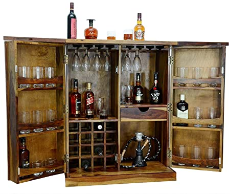 Furniture World Sheesham Wood Bar Cabinet with Wine Glass Storage (Brown)