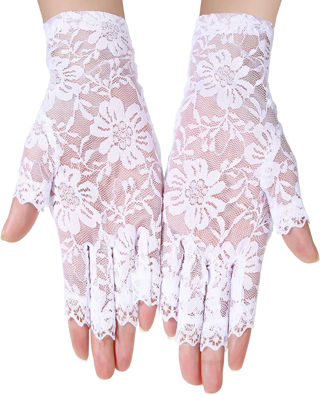 White Fingerless Lace Gloves Halloween Costume Accessory fnt