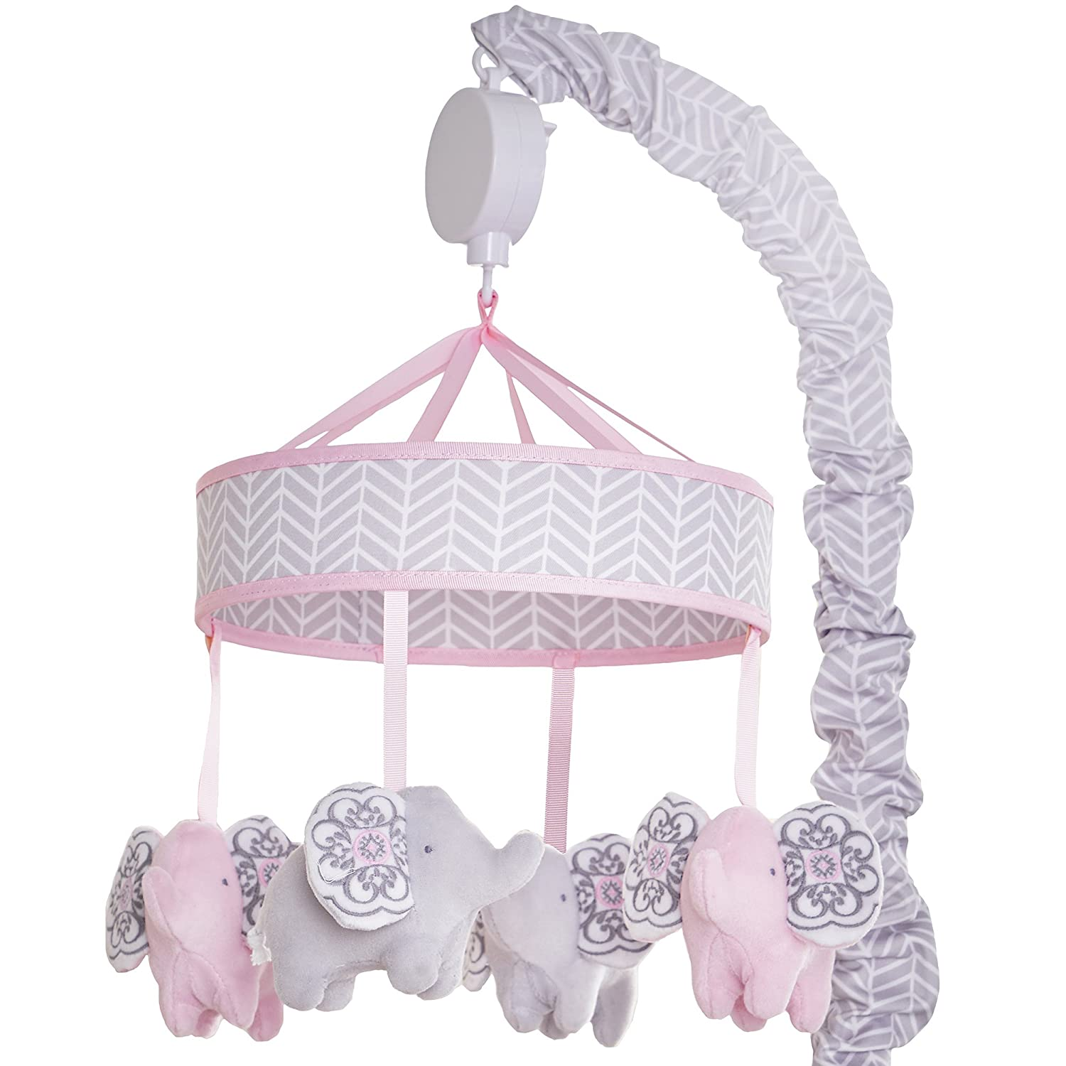 Amazon.com : Wendy Bellissimo Baby Mobile Crib Mobile Musical Mobile - Elephant Mobile from the Hudson Collection in Grey and White : Baby