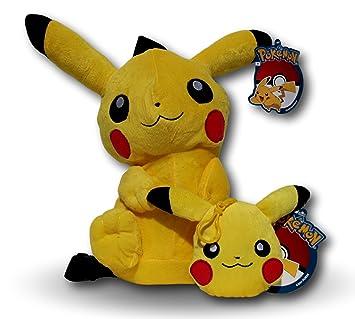 Peluche Mochila Pikachu 40cm y Monedero 15cm Pokemon Go Amarillo Anime Manga Videojuego Serie TV Muñeco