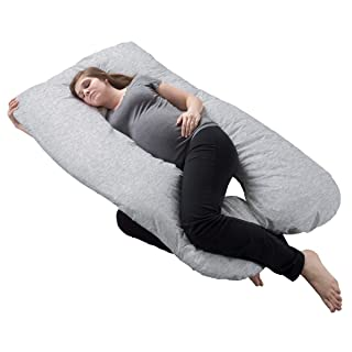 Lavish Home Collection Pregnancy Full Maternity Pillow with Removable Cover and Contoured U-Shape Design for Back/Body Support (Gray) Trademark 64-PREGN-U-GRY