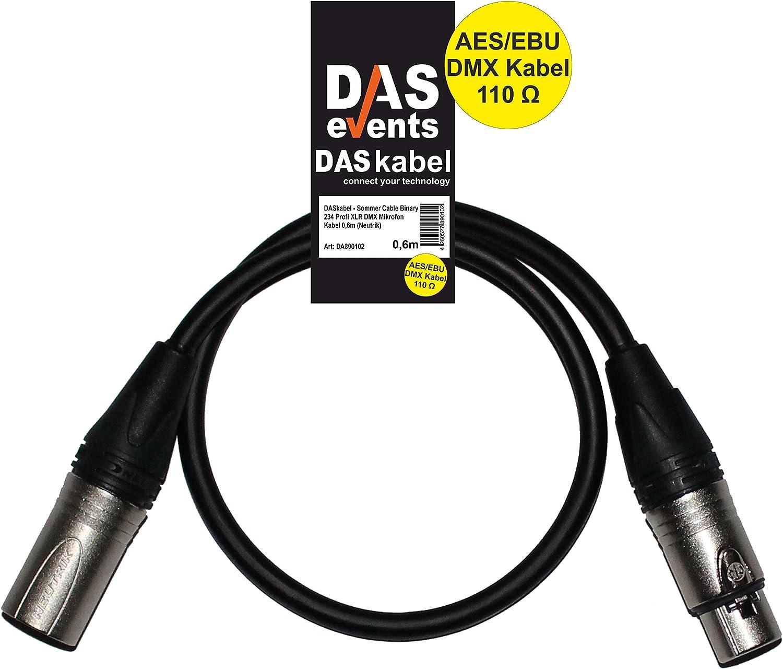 Sommer Cable Binary 234 Profi XLR DMX Mikrofon Kabel 0,6m Neutrik DASkabel