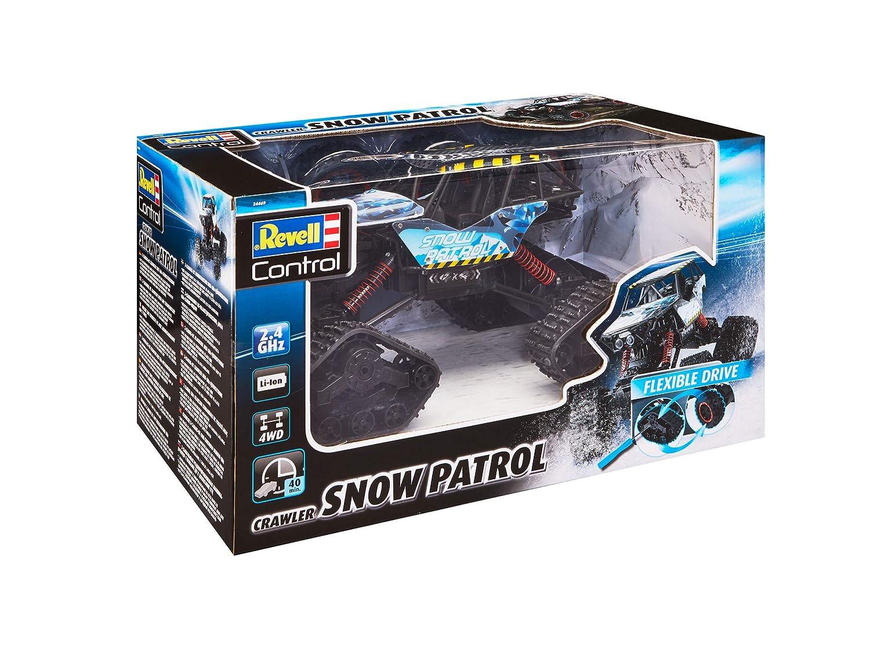 Akku Revell Control 24469 RC Car Crawler Snow Patrol mit wechselbarem Kettenantrieb//Gummibereifung Mehrfarbig 2.4GHz 4WD Allrad ferngesteuertes Auto 35 cm