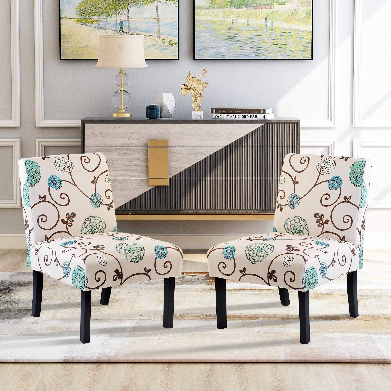 Accent Chair Set of 3, Armless Accent Chairs for Living Room Entryway  Bedroom Armless Slipper Chair Set of 3, Fabric
