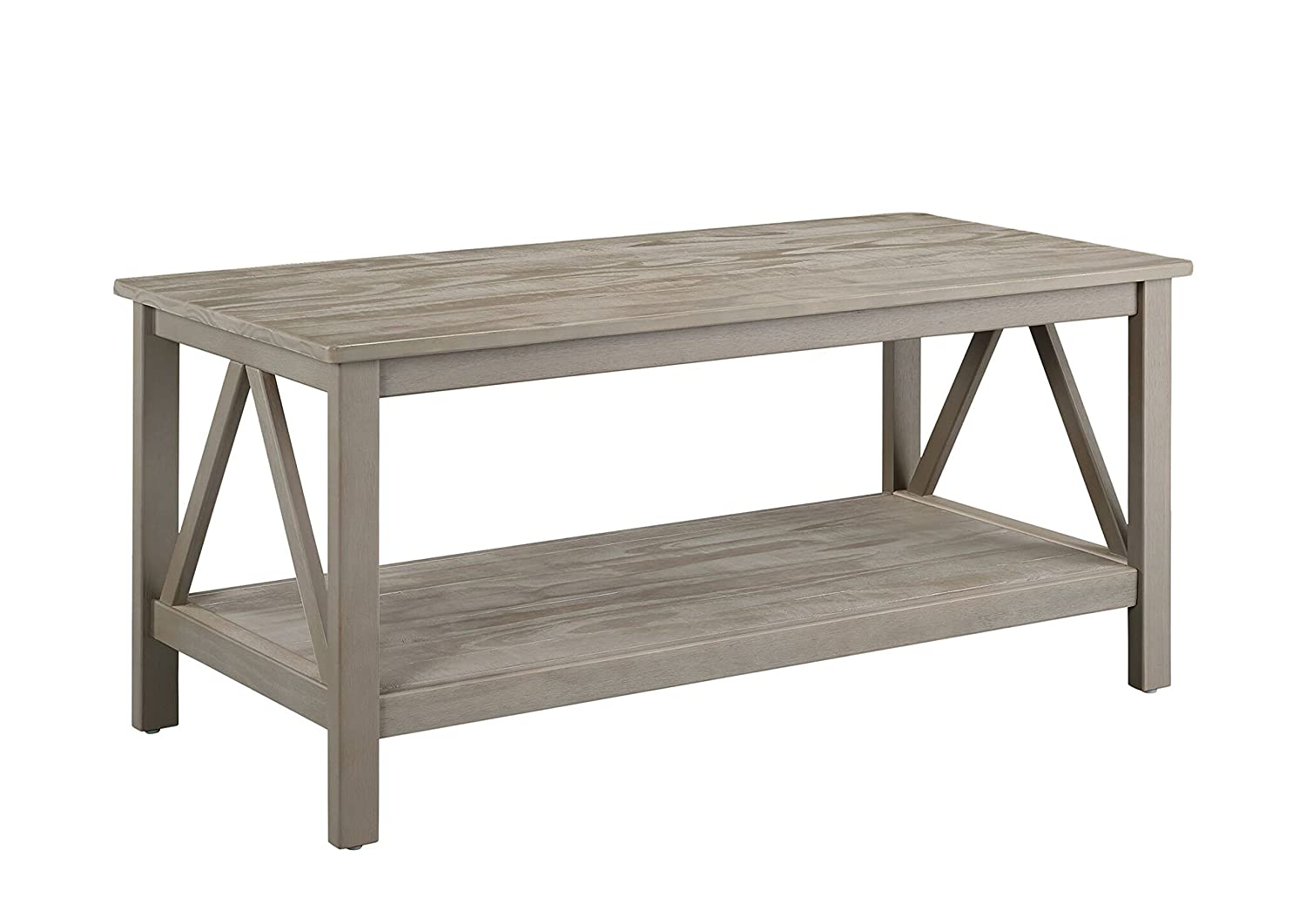Amazon linon titian rustic gray coffee table kitchen dining geotapseo Gallery