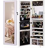 Luxfurni LED Light Jewelry Cabinet Wall-Mount/Door-Hanging Mirror Makeup Lockable Armoire, Large Storage Organizer w…