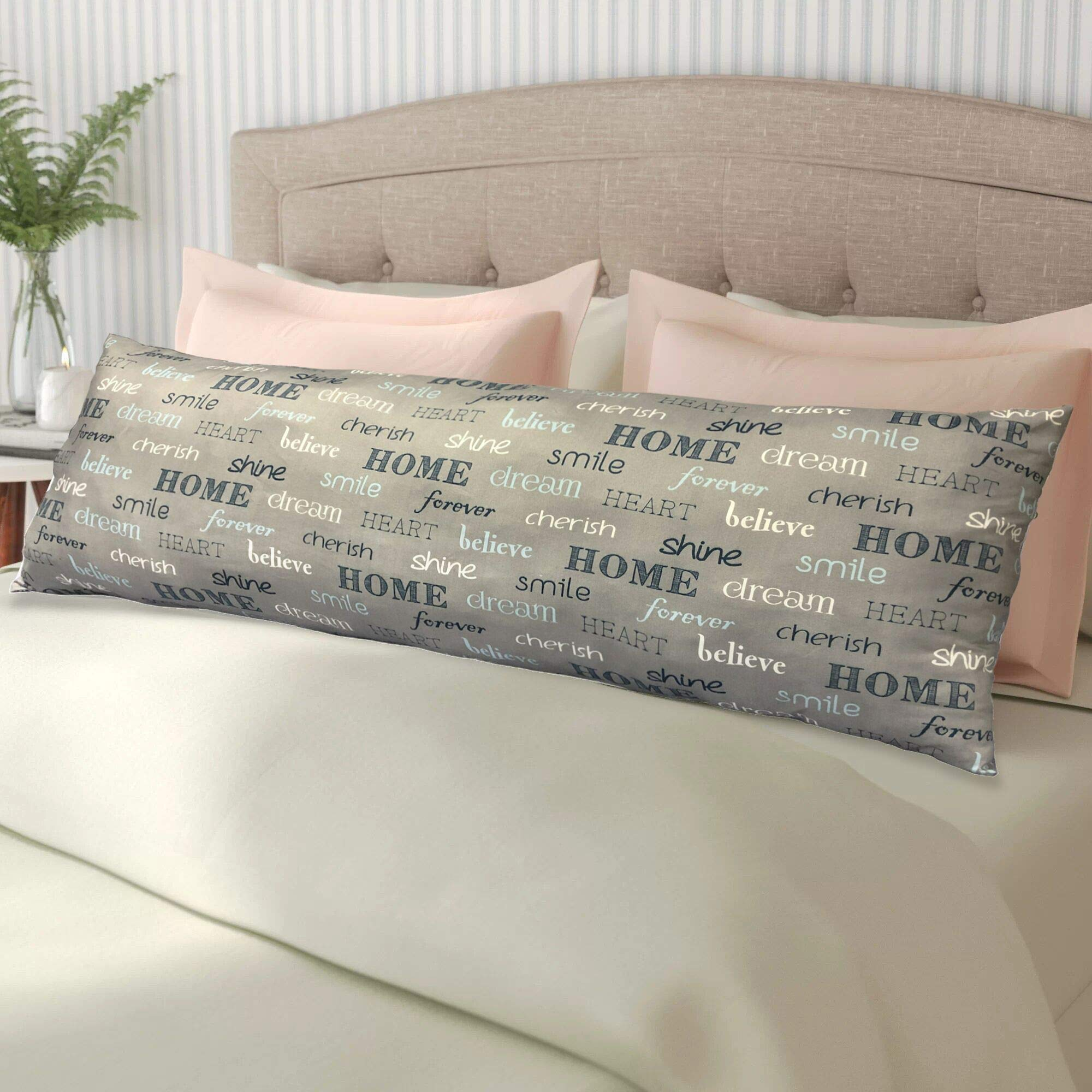 Home Collections Inspire Body Pillow, 18''x48'', Gray