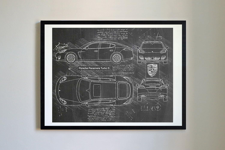 Amazon.com: DolanPaperCo #290 Porsche Panamera Turbo S 2014 Art Print, da Vinci Sketch – Unframed – Multiple Size/Color Options (17x22, Blackboard): Home & ...