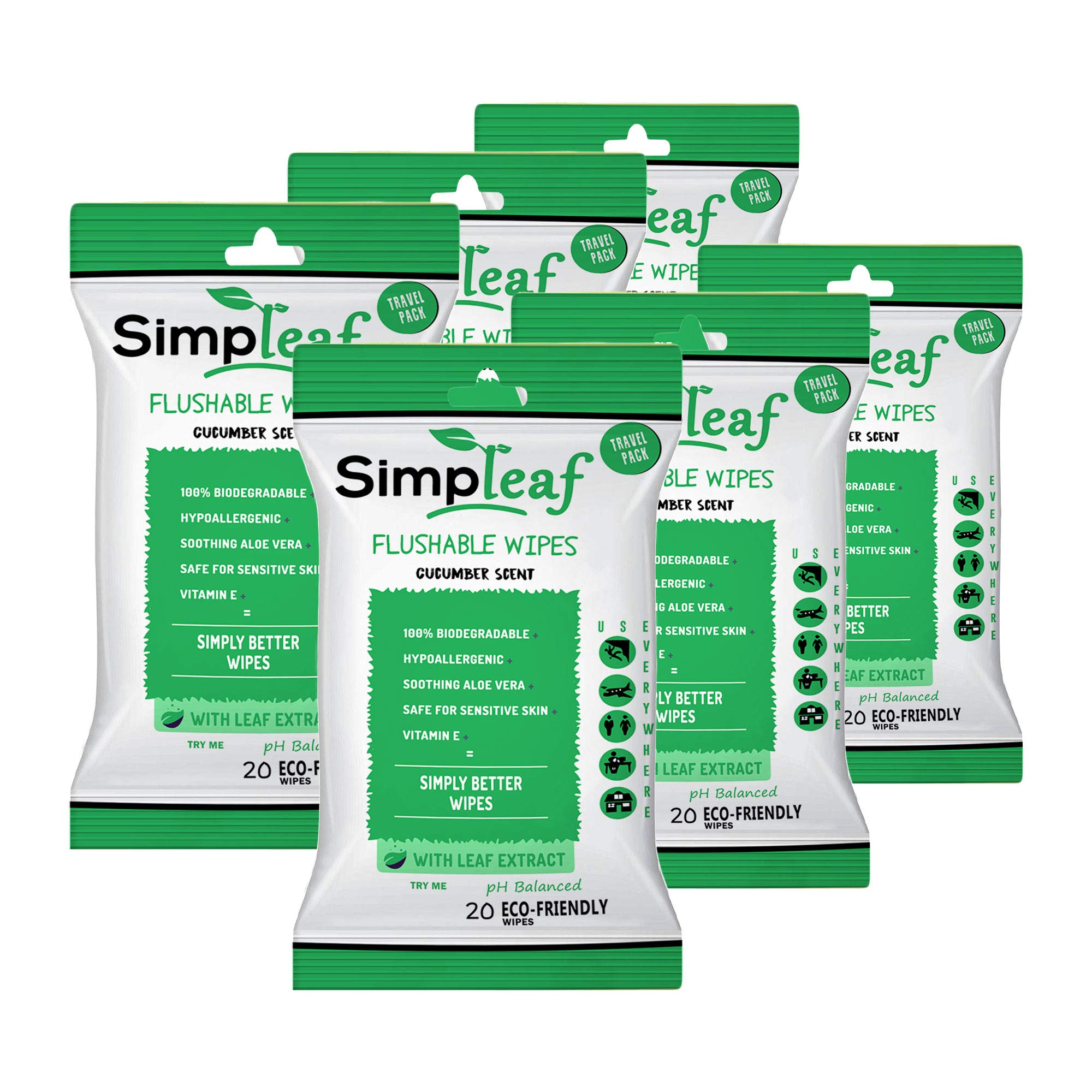 Simpleaf Flushable Wipes: Eco- Friendly, Thick and Effective, Paraben and Alcohol Free, Hypoallergenic and Safe for Sensitive Skin, Vitamin E with Cucumber Scent (6 Packs) by Simpleaf
