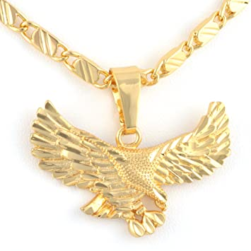 Amazoncom Mens Womens Eagle Hawl Pendant 24k Real Gold Plated