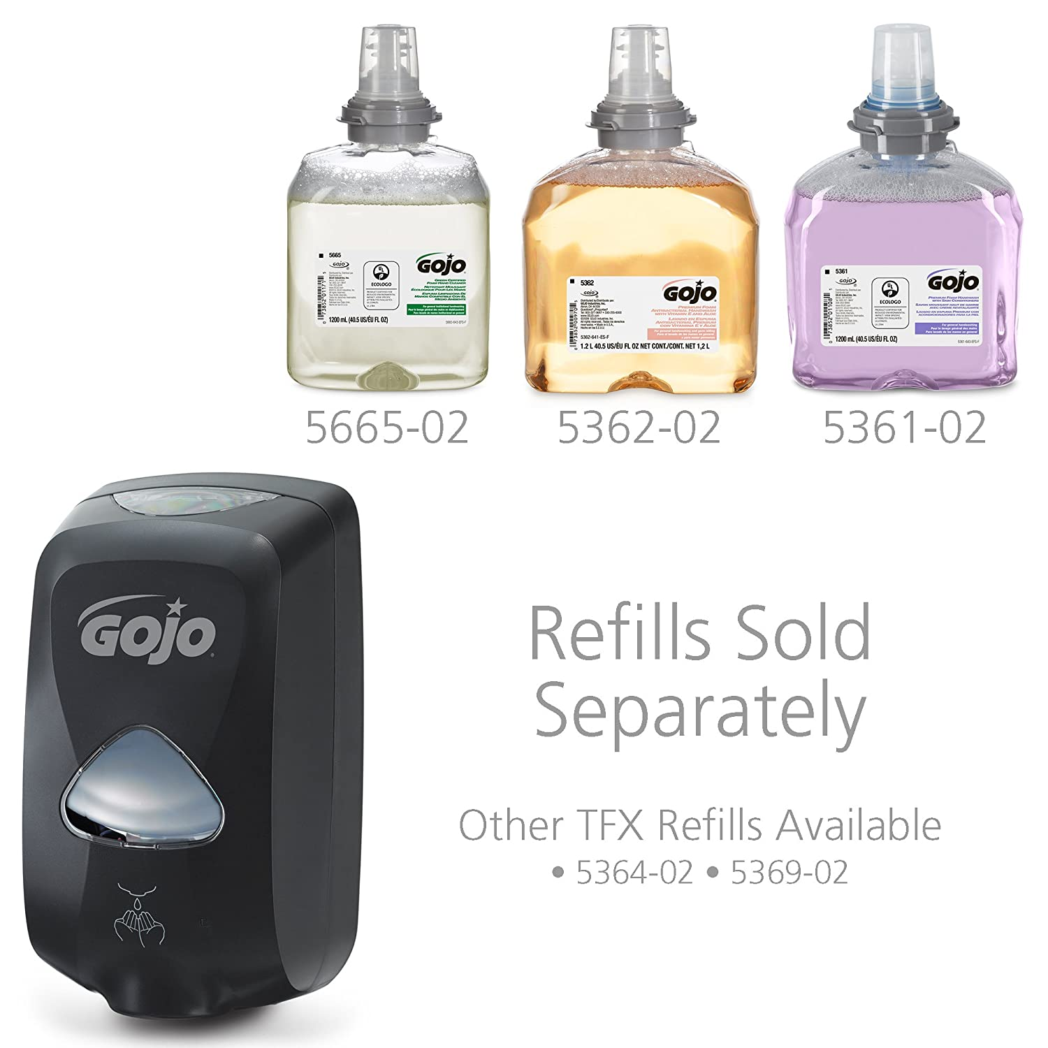 GOJO 2740-01 Dove Gray TFX Touch Free Dispenser with Matte Finish 6 Width x 10.5 Height x 4 Depth