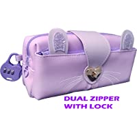SHREE TECHNESH® New Arrival Pencil Pouch with Lock for Girls |Angel Stationery Pouch for Girls|Pouch with Lock for Girls|Pencil Box with Lock|Pencil Pouch for Girls Stylish|Zipper Pouch (Purple)9911