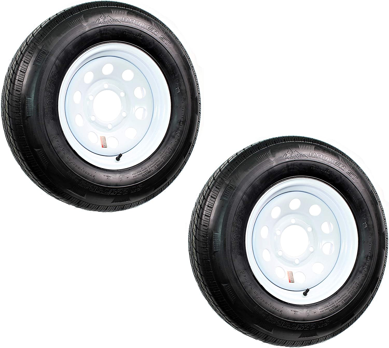 2-Pack Radial Trailer Tire Rim ST225//75R15 Load D 6 Lug White Wheel Mod