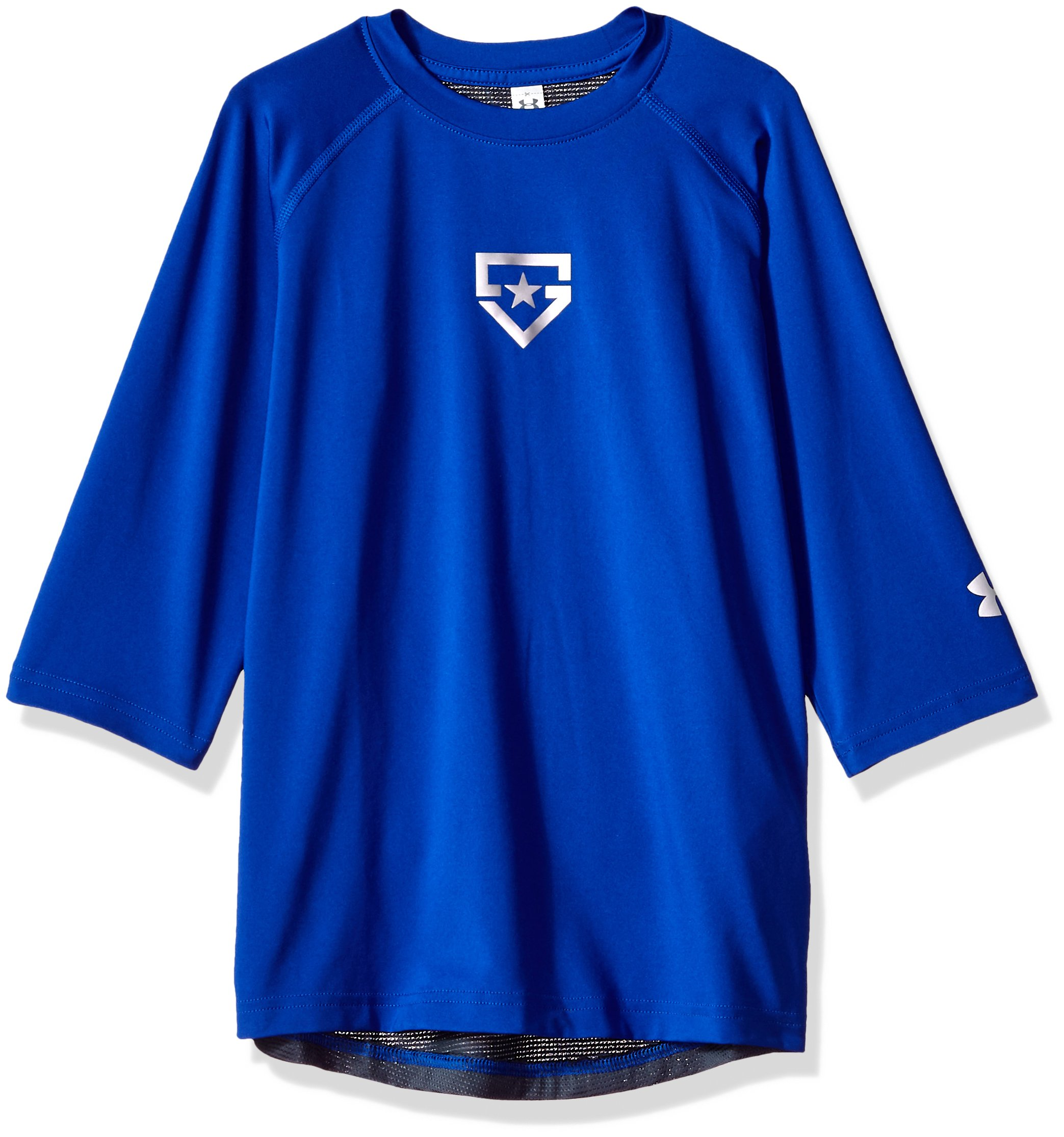 Boy's Under Armour Boys' Heater 3/4 sleeve T-Shirt, Royal (400)/Silver, Youth Large by Under Armour