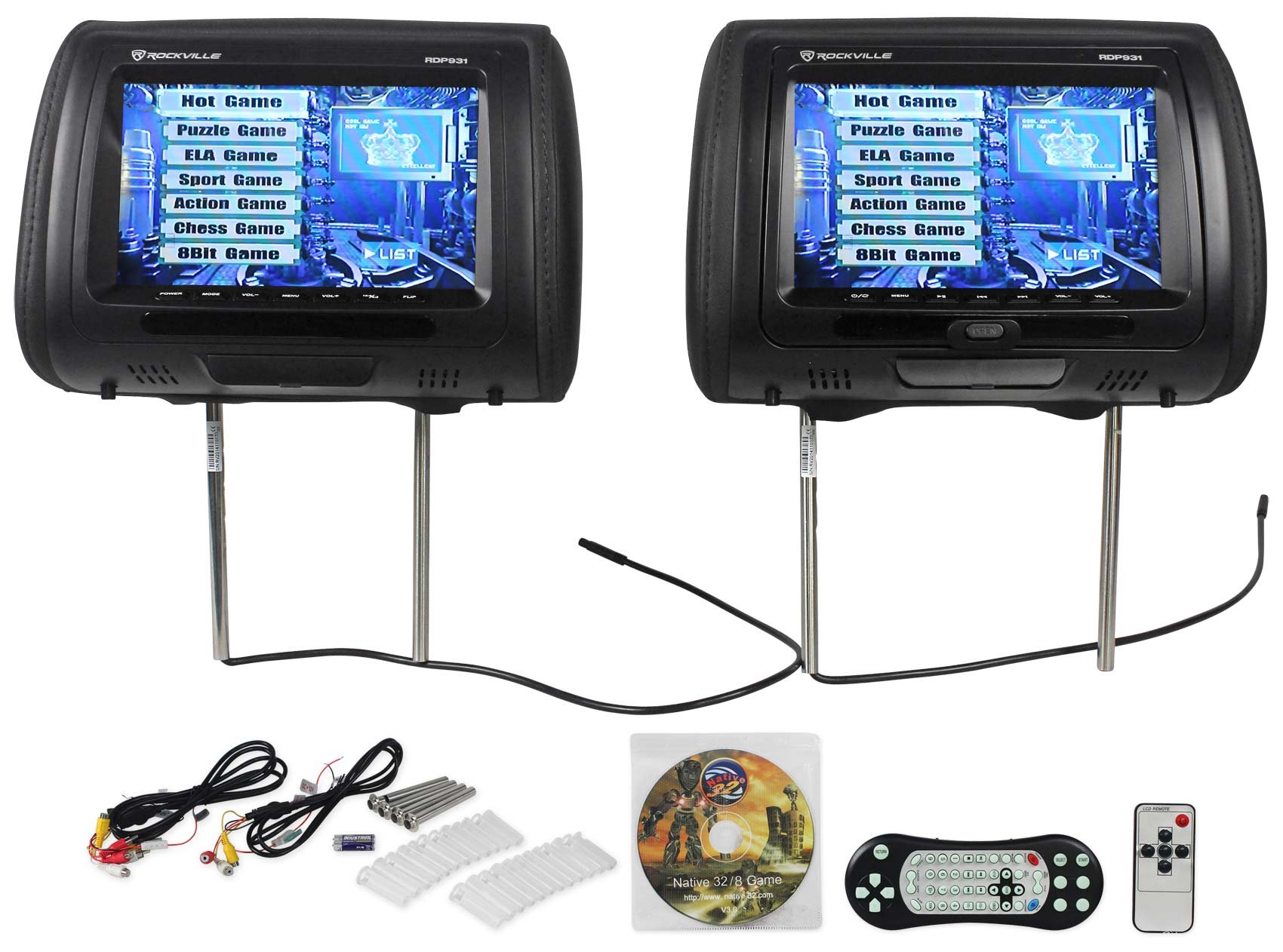 Rockville RDP931-BK 9'' Black Car DVD/USB/HDMI Headrest Monitors+Video Games by Rockville