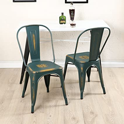 Belleze Set of (4) Modern Dining Chair Heavy Duty Frame Stackable Chairs  with High - Amazon.com - Belleze Set Of (4) Modern Dining Chair Heavy Duty Frame