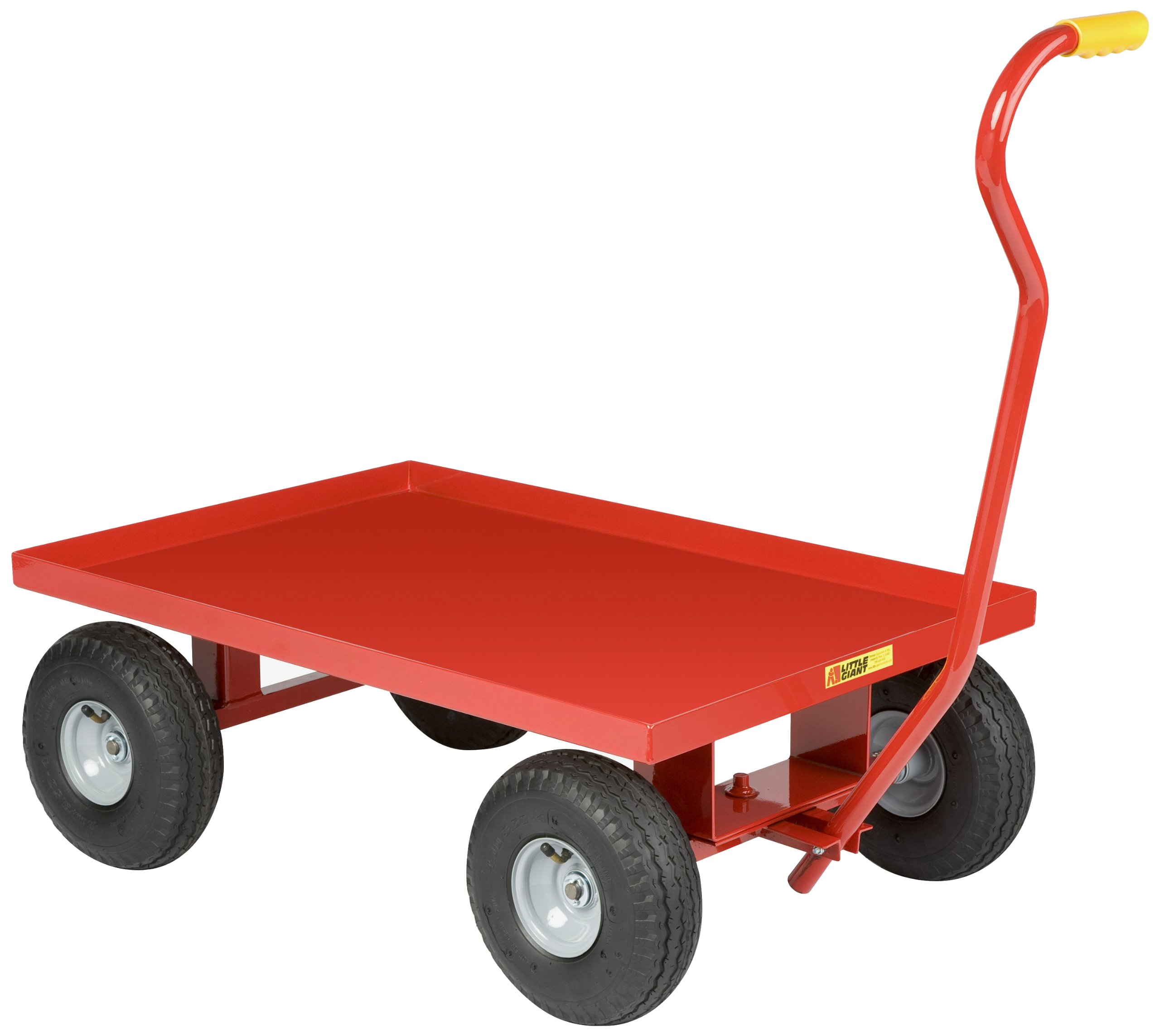 Little Giant LW-2436-8S Steel Solid Deck Wagon Truck with 1-1/2'' Lip, 8'' Solid Rubber Wheel, Red, 1200 lb. Load Capacity, 24'' Width x 36'' Length