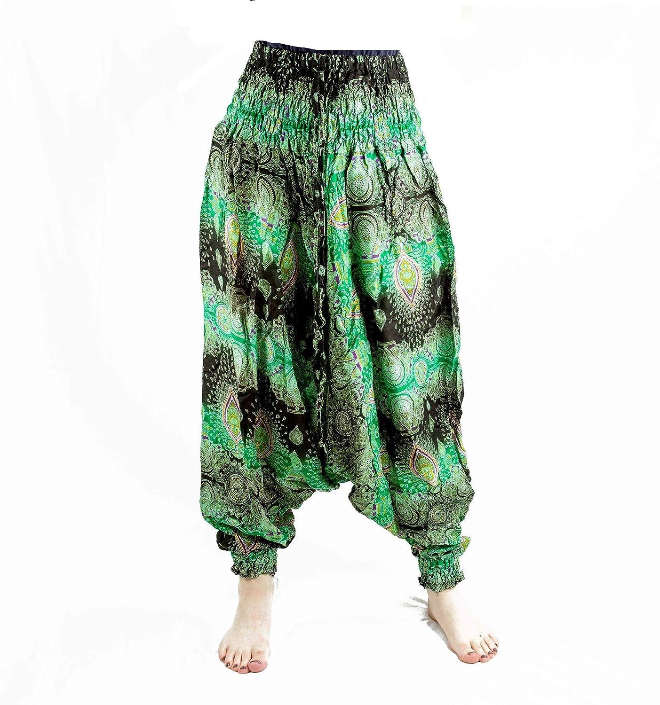 Thai-Yoga-Hippie-Freizeit-Kleidung-Hose weit Damen Herren lang leicht hohe Taille weites Bein one Size von P.ANTI GURU