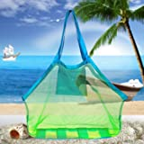 Beach Mesh Tote Bag, Beach Necessaries Children Toys Stay Away from Sand for the Beach Pool Boat, Perfect for Holding Toys Balls,Green