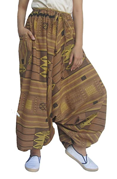 5e552ea949e Wynnthaishop 100% Cotton Baggy Boho Aladin Yoga Harem Pants (S-XL for