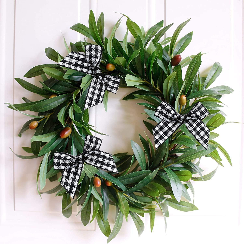 Wedding Decoration Ornament DIY Craft Black, Big Size 25PCS VIVIQUEN Gingham Craft Ribbon Bows Mini Checkered Ribbon Flowers Appliques for Sewing Gift