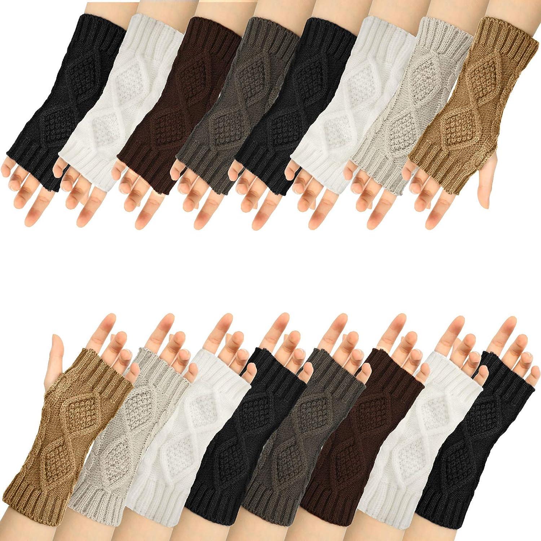 8 Pairs Women Winter Knit Fingerless Gloves Crochet Thumbhole Arm Warmer Mittens