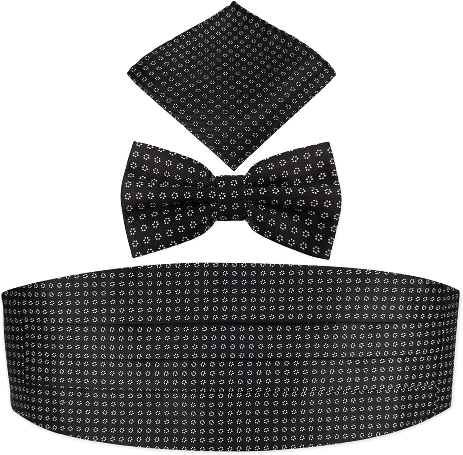Prom Wedding Formal Black Bow-Tie Cummerbund and Pocket square Gift Set