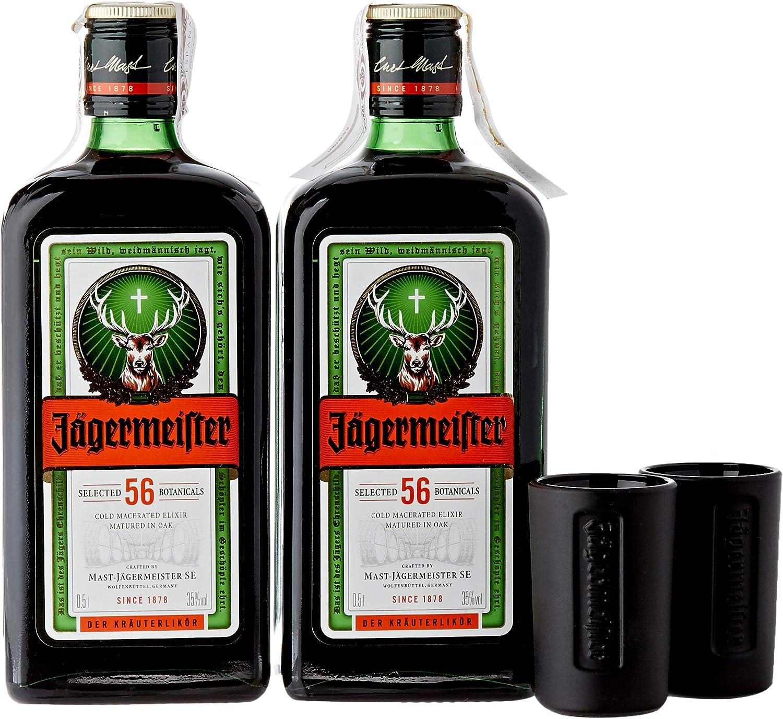 Jagermeister - Licor con 2 Vasos, 2 x 500 ml