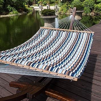 lazy daze hammocks 58 inch double size pillow top hammock swing bed with spreader bar heavy amazon     lazy daze hammocks 58 inch double size pillow top      rh   amazon